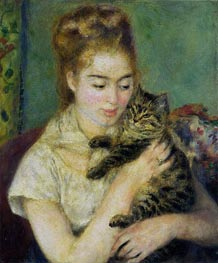Woman with a Cat, c.1875 von Renoir | Gemälde-Reproduktion