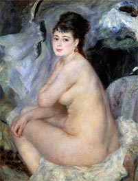 Nude Seated on a Sofa, 1876 von Renoir | Gemälde-Reproduktion