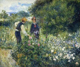Picking Flowers, 1875 von Renoir | Gemälde-Reproduktion