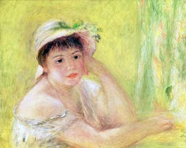Woman with a Straw Hat (Alpphonsine Fournaise) | Renoir | Gemälde Reproduktion