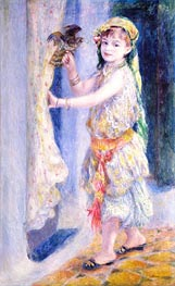 Young Girl with Falcon, 1880 by Renoir | Painting Reproduction