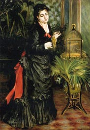 Woman with a Parrot (Henriette Darras), 1871 by Renoir | Painting Reproduction