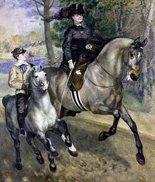 Riding in the Bois de Boulogne (Madame Darras), 1873 by Renoir | Painting Reproduction