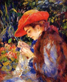 Mademoiselle Marie-Therese Durand-Ruel Sewing, 1882 von Renoir | Gemälde-Reproduktion