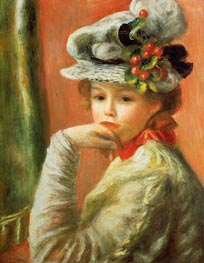 Young Girl in a White Hat | Renoir | Gemälde Reproduktion