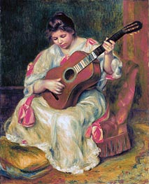 Woman Playing the Guitar, c.1896/97 by Renoir | Painting Reproduction