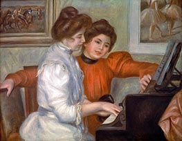 Yvonne and Christine Lerolle at the Piano, 1897 von Renoir | Gemälde-Reproduktion