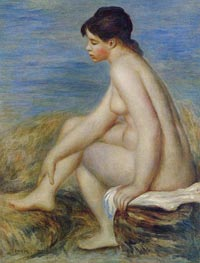 Seated Bather, 1882 by Renoir | Painting Reproduction