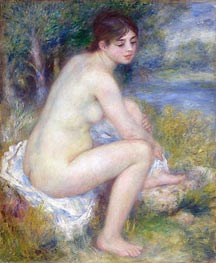 Female Nude in a Landscape (Seated Bather), 1883 by Renoir | Painting Reproduction