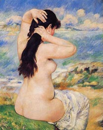 Bather Arranging Her Hair (Nude Fixing Her Hair), 1885 by Renoir | Painting Reproduction