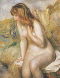 Bather Seated on a Rock, 1892 by Renoir | Painting Reproduction
