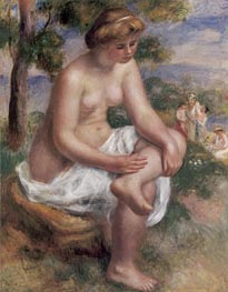 Seated Bather in a Landscape (Eurydice), c.1895/00 by Renoir | Painting Reproduction