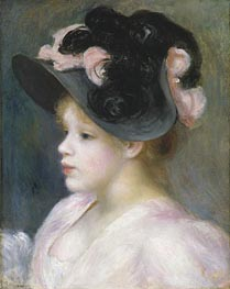 Young Girl in a Pink and Black Hat | Renoir | Gemälde Reproduktion