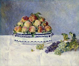 Still Life with Peaches and Grapes, 1881 von Renoir | Gemälde-Reproduktion