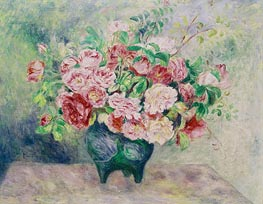 Rosen in einer Vase, c.1880 von Renoir | Gemälde-Reproduktion