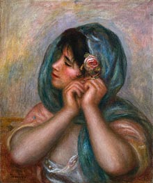 Young Woman Arranging Her Earring, 1905 von Renoir | Gemälde-Reproduktion