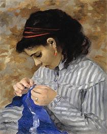 Lise Sewing, 1866 von Renoir | Gemälde-Reproduktion