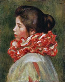 Girl in a Red Ruff, 1884 von Renoir | Gemälde-Reproduktion