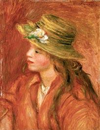 Young Girl in a Straw Hat, c.1908 von Renoir | Gemälde-Reproduktion
