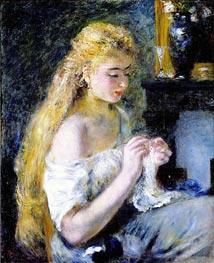 A Girl Crocheting, c.1875 von Renoir | Gemälde-Reproduktion