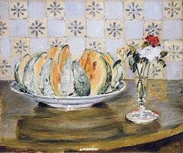 Still Life of a Melon and a Vase of Flowers, c.1872 von Renoir | Gemälde-Reproduktion