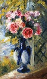 Roses in a Blue Vase, 1892 von Renoir | Gemälde-Reproduktion