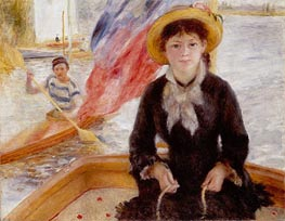 Woman in Boat with Canoeist | Renoir | Painting Reproduction