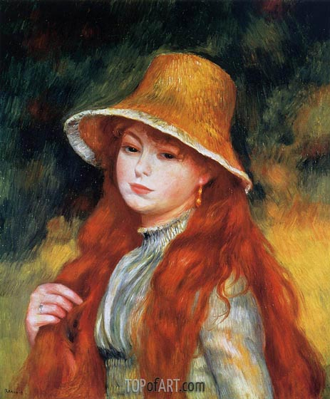 Young Girl in a Straw Hat - Pierre-Auguste Renoir - Hand-Painted Art