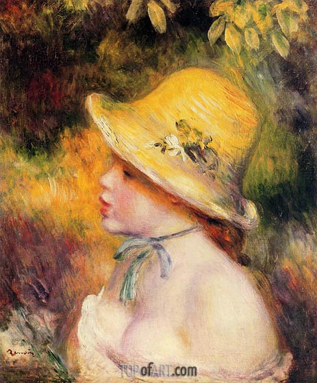 Young Girl in a Straw Hat, 1890 | Renoir | Gemälde Reproduktion