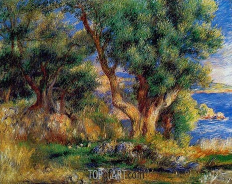 Landscape on the Coast, near Menton, 1883 | Renoir| Painting Reproduction