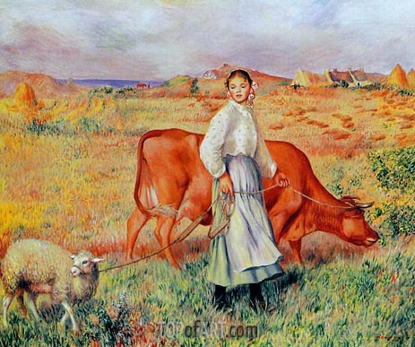 The Shepherdess, the Cow and the Ewe, c.1886/87 | Renoir | Gemälde Reproduktion