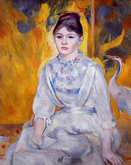 Young Woman with Crane, 1886 | Renoir| Painting Reproduction