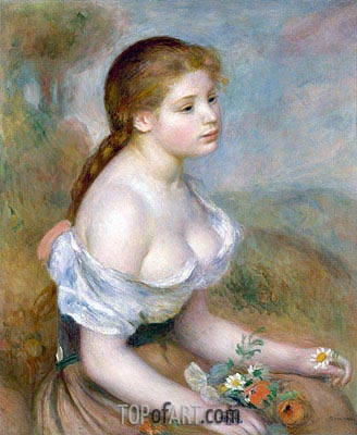 Young Girl with Daisies, 1889 | Renoir | Gemälde Reproduktion