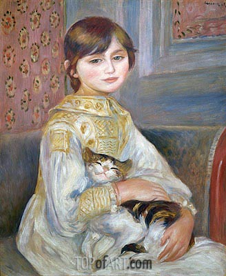Child with Cat (Julie Manet), 1887 | Renoir| Gemälde Reproduktion