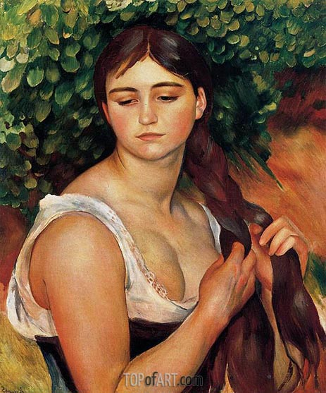 The Braid (Suzanne Valadon), c.1884/86 | Renoir | Gemälde Reproduktion