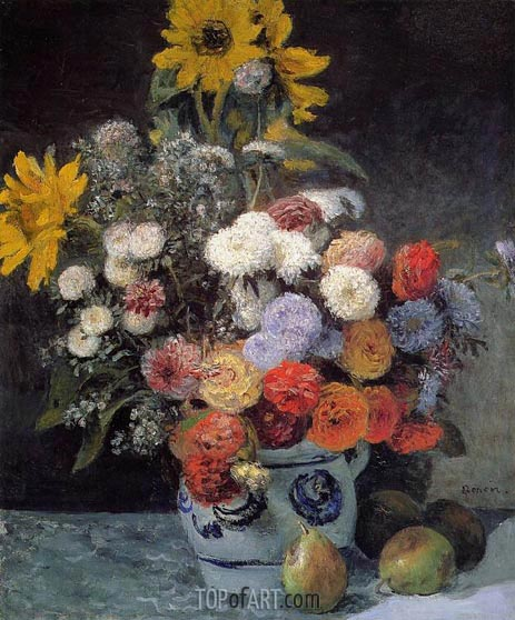 Mixed Flowers in an Earthenware Pot, c.1869 | Renoir| Painting Reproduction