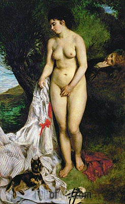 Bather with Griffon Terrier, 1870 | Renoir | Painting Reproduction