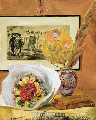Still Life with Bouquet and Fan, 1871 | Renoir| Gemälde Reproduktion