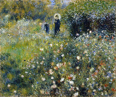 Woman with a Parasol in a Garden, 1875 | Renoir | Painting Reproduction