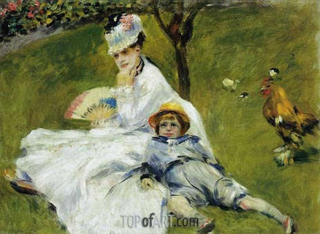 Camille Monet and Her Son Jean in the Garden, 1874 | Renoir| Painting Reproduction