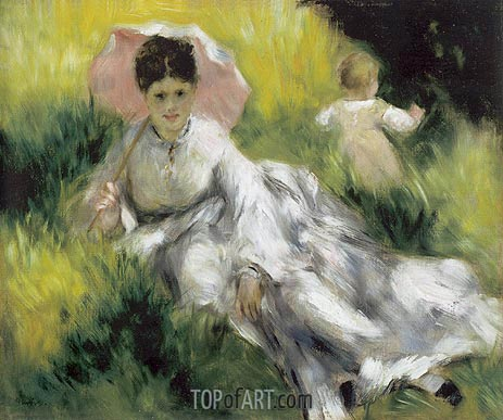 Woman with a Parasol and Child on a Sunlit Hillsid, c.1874/76 | Renoir | Painting Reproduction