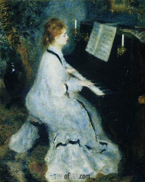 Young Woman at the Piano, 1875 | Renoir| Painting Reproduction