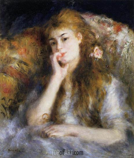 Young Woman Seated (The Thought), c.1876/77 | Renoir | Painting Reproduction