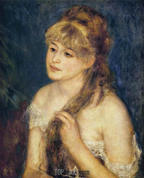 Young Woman Braiding Her Hair (Mademoisells Muller, 1876 | Renoir | Gemälde Reproduktion