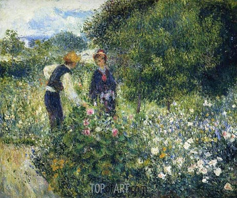 Picking Flowers, 1875 | Renoir| Painting Reproduction