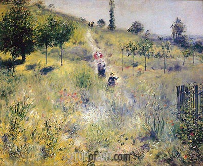 Path Leading through Tall Grass, 1876 | Renoir| Painting Reproduction