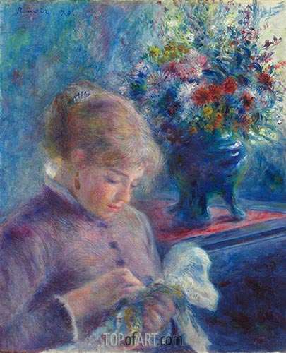 Young Woman Sewing, c.1879 | Renoir | Painting Reproduction