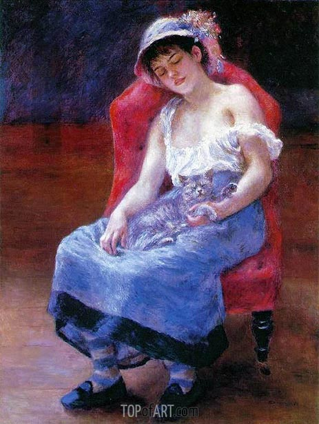 Sleeping Girl (Girl with a Cat), 1880 | Renoir | Gemälde Reproduktion