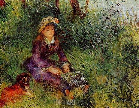 Madame Renoir with a Dog, 1880 | Renoir| Painting Reproduction