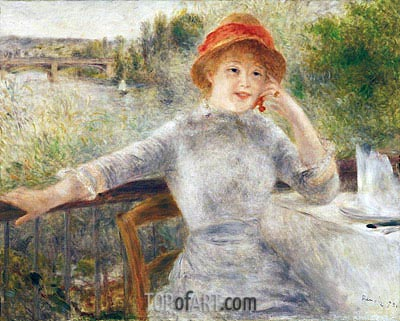 Alphonsine Fournaise on the Isle of Chatou, 1879 | Renoir | Gemälde Reproduktion